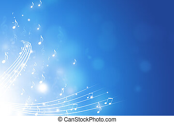 Music Notes Blue Background - blue abstract funky background...