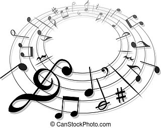 Music Notes Clef - a moving illustration with the...