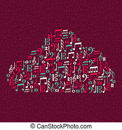 Music notes cloud shape illustration