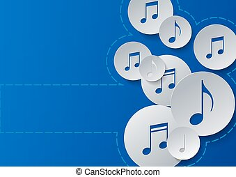 Music Notes Cut in Paper Circles on Blue Background
