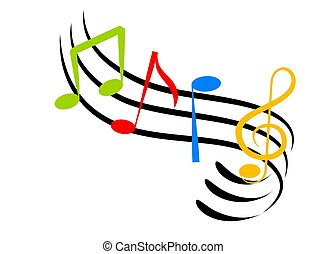 Music Notes - An illustration of colorful music notes made...