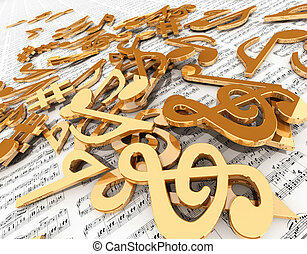 Music notes - Golden music symbols on sheet music