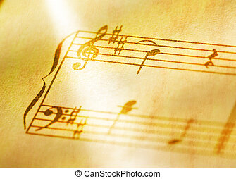 Music notes in yellow toning