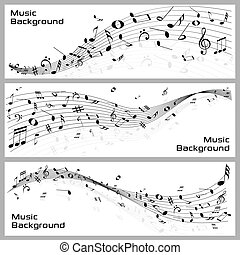 Music Notes - easy to edit vector illustration of wavy music...