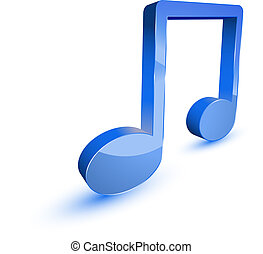Music notes - 3d music note symbol on white background
