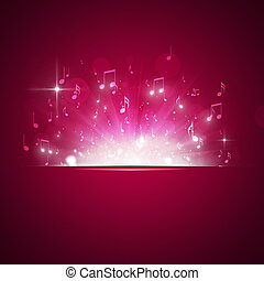 Music Notes Explosion Red Background