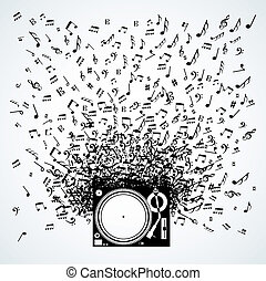 Music notes from turntable isolated design - Dj turntable...