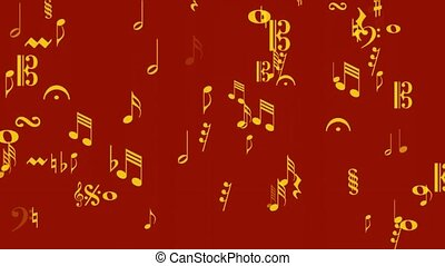 music notes gold on red