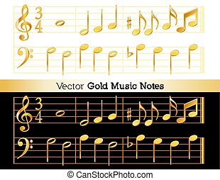 Music Notes, Gold on White and Black Backgrounds