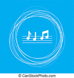 music notes icon on a blue background with abstract circles around and place for your text.