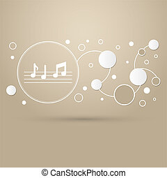 music notes icon on a brown background with elegant style and modern design infographic.