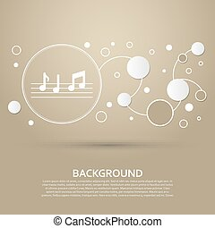 music notes icon on a brown background with elegant style and modern design infographic. Vector