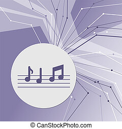 music notes icon on purple abstract modern background. The lines in all directions. With room for your advertising.