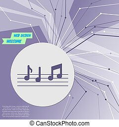 music notes icon on purple abstract modern background. The lines in all directions. With room for your advertising. Vector