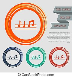 music notes icon on the red, blue, green, orange buttons for your website and design with space text. Vector