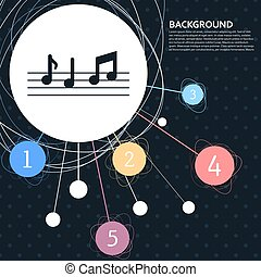 music notes icon with the background to the point and with infographic style. Vector