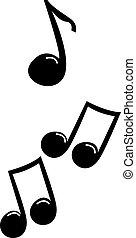 Music notes, illustration, vector on white background.