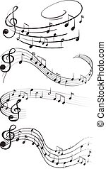 Music notes - Four set of music notes
