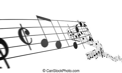 Music notes in 3d. HD. Loopable. - Music notes flowing on...