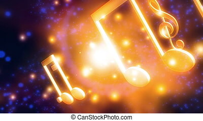 Music notes in gold particles in dark blue looping animated abstract backdrop