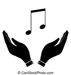 Music notes in hand icon