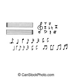 music notes in sketch style, hand drawn vector illustration
