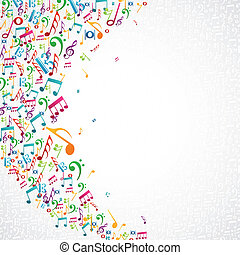 Colorful random music notes isolated background. Vector file layered for easy manipulation and custom coloring.