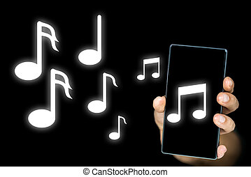 Conceptual image of music notes issuing from an mp3 music player or notes depicting an audible musical ringtone on a mobile phone