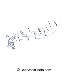 Music notes Jingle bells Christmas carol, cartoon vector illustration
