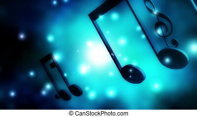 Music notes lens flare particle lights looping animated...