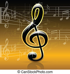 Music notes-Melody - Illustration of key violin and music...