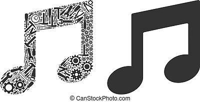 Music Notes Mosaic of Service Tools