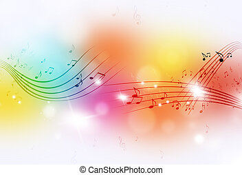 Music Notes Multicolor Background - music notes and blurry...