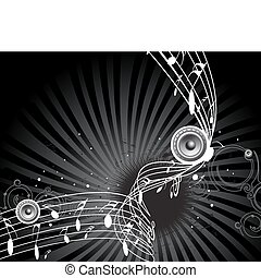 music theme with music notes for design use, vector illustration