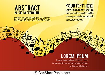 Music notes on a color background
