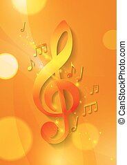 Music Notes on Abstract Orange Background