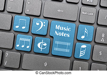 Music notes on keyboard