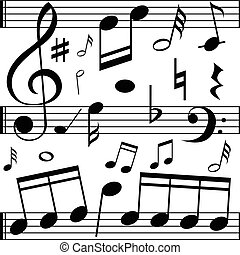 Music notes on line scales illustration