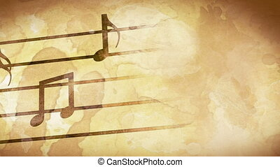 music notes on grunge stained paper. computer generated seamless loop motion background