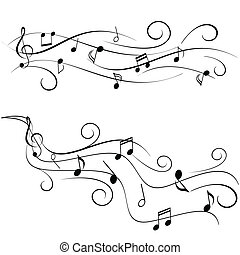 Music notes on staff - Various music notes on swirly staff