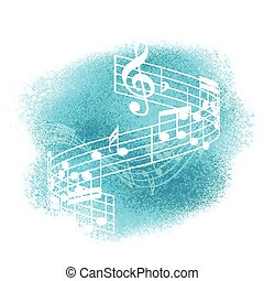 music notes on watercolour background 1707