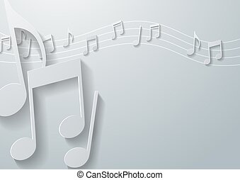 Music Notes on White Paper Backgrou