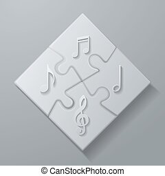 Music Notes on White Puzzle Background