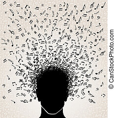 Human head with music notes coming out, white background. Vector file layered for easy manipulation and custom coloring.