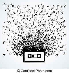 Music notes out of a cassette isolated design - Random music...