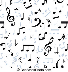 Music notes seamless pattern in black and white with...