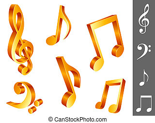 Set of 6 golden music notes, isolated on white background.