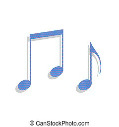 Music notes sign. Vector. Neon blue icon with cyclamen polka dot