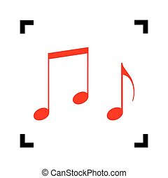 Music notes sign. Vector. Red icon inside black focus corners on white background. Isolated.