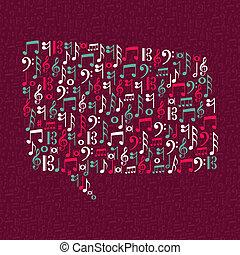 Music notes speech bubble illustration